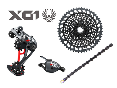 SRAM X01 Eagle Upgrade Kit 1x12 | 52 Zähne | lunar-grau/rot